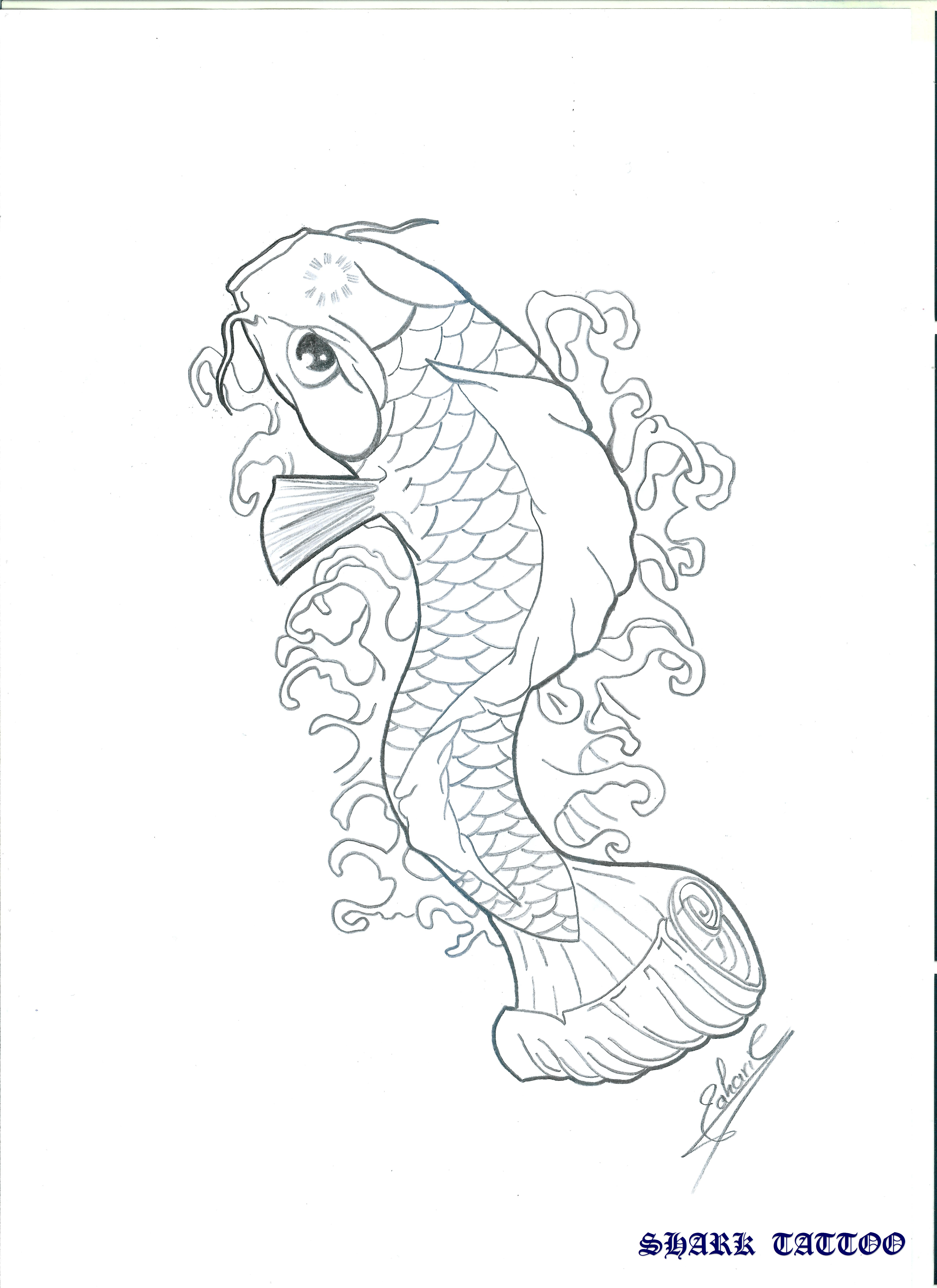 The gallery for koi fish silhouette for Koi fish outline